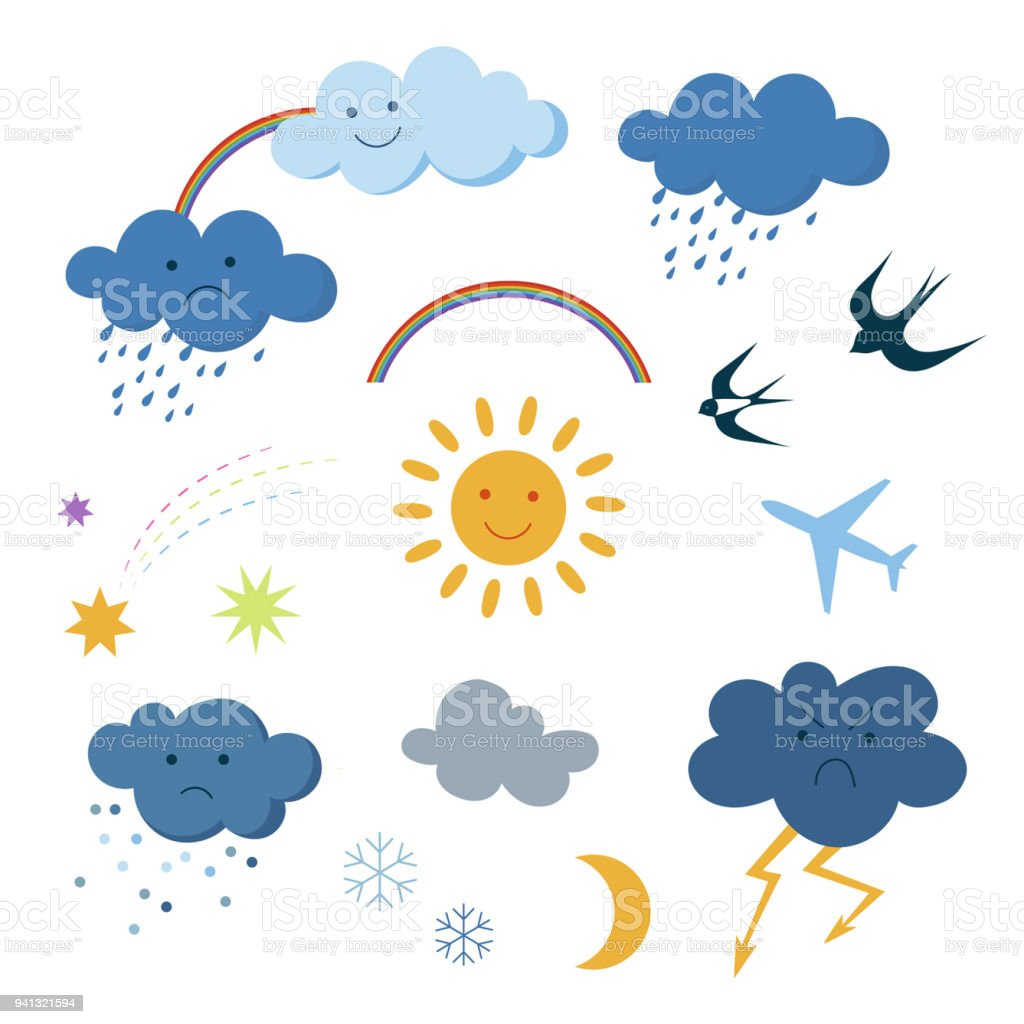 Cute cartoon sky objects weather symbols set clipart vector art illustration