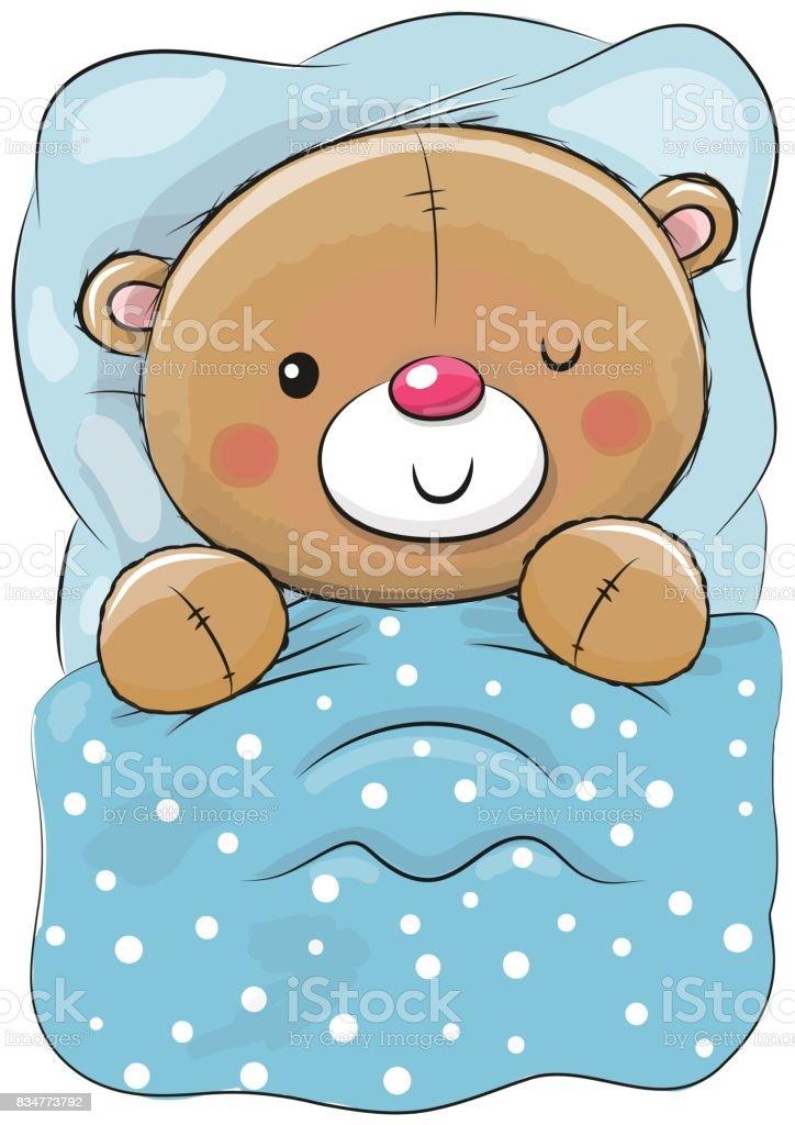 25c42ea390 Dibujos animados lindo oso de peluche para dormir ilustración de dibujos  animados lindo oso de peluche