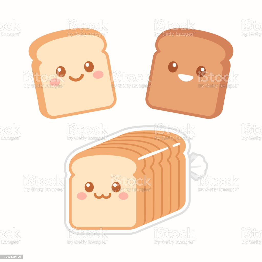 Cute cartoon slices of bread royalty-free cute cartoon slices of bread stock illustration - download image now