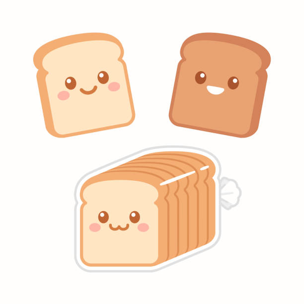 Cute cartoon slices of bread Cute cartoon slices of bread with kawaii faces. White and brown rye toast. Simple flat vector style illustration. bread clipart stock illustrations