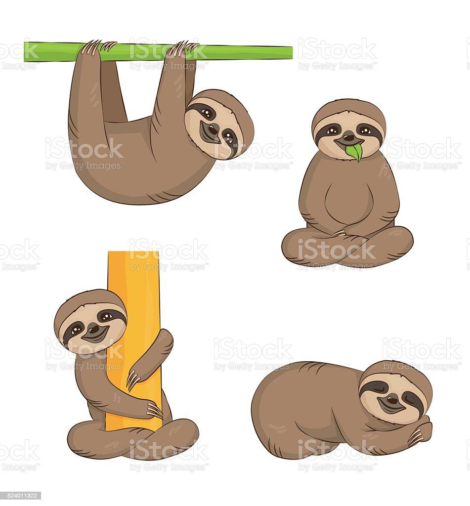 Cute cartoon sloth set vector art illustration