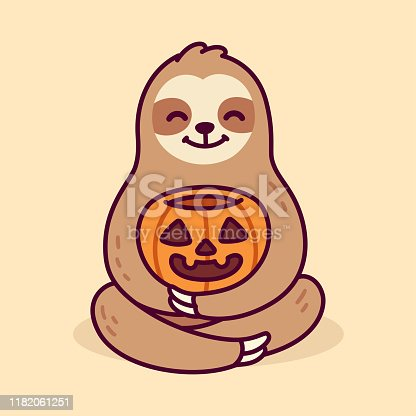 Cute cartoon sloth holding Halloween pumpkin. Funny hand drawn character vector clip art illustration.