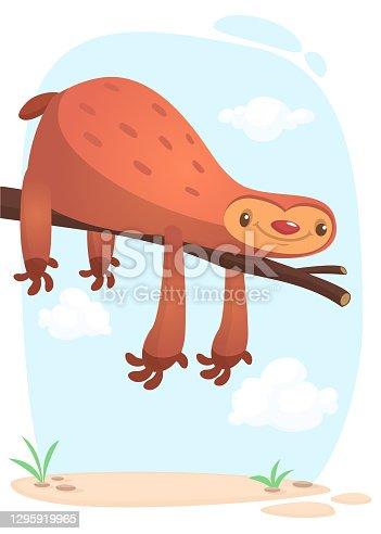 Cute cartoon sloths cartoon, funny vector illustration isolated