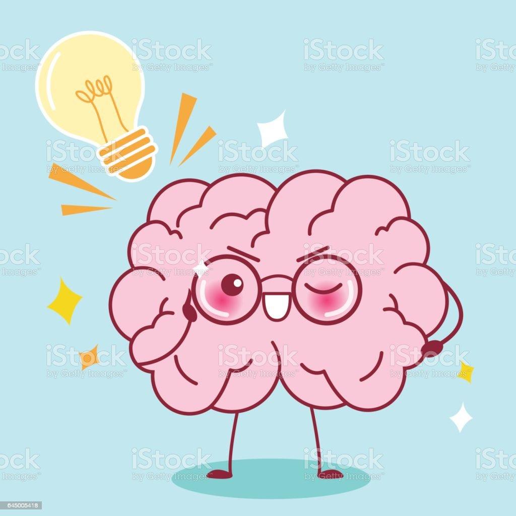 Cute Cartoon Smart Brain Stock Vector Art & More Images of Anatomy ...