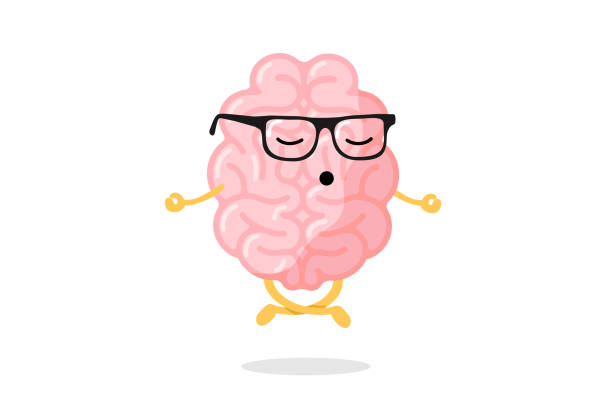 cute cartoon smart human brain character with glasses relaxation meditate concept. central nervous system organ meditation in lotus yoga pose. relax concept vector illustration - mindfulness stock illustrations