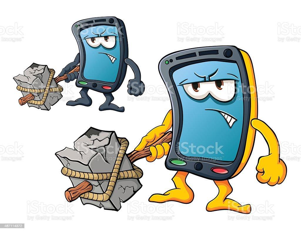 Cute cartoon smartphone vector art illustration