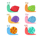 Cute cartoon snail vector set with different shells on white background
