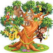 Cute Cartoon Snake, Monkey, Jaguar and birds in Jungle Tree