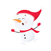 Cute cartoon snowman in Santa hat having fun