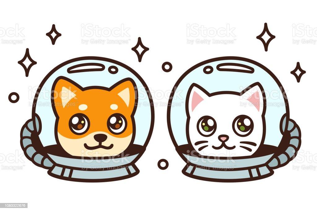 Cute cartoon space cat and dog vector art illustration