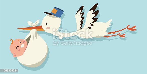 Stork baby. Cute vector cartoon illustration.