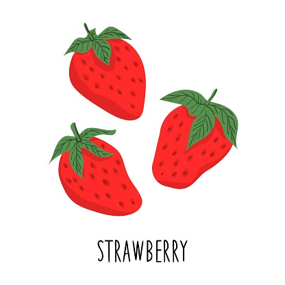 Cute cartoon strawberry. Drawing for design postcards, print for t-shirts, digital design