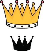 Cute Cartoon Style Kings Crown Silhouette also Included