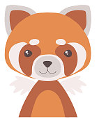Cute cartoon style red panda bear vector illustration for children