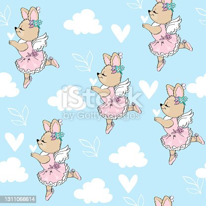 Cute cartoon summer rabbits seamless pattern. Birthday and Happy Easter. Vector illustration design for baby room and baby t-shirts