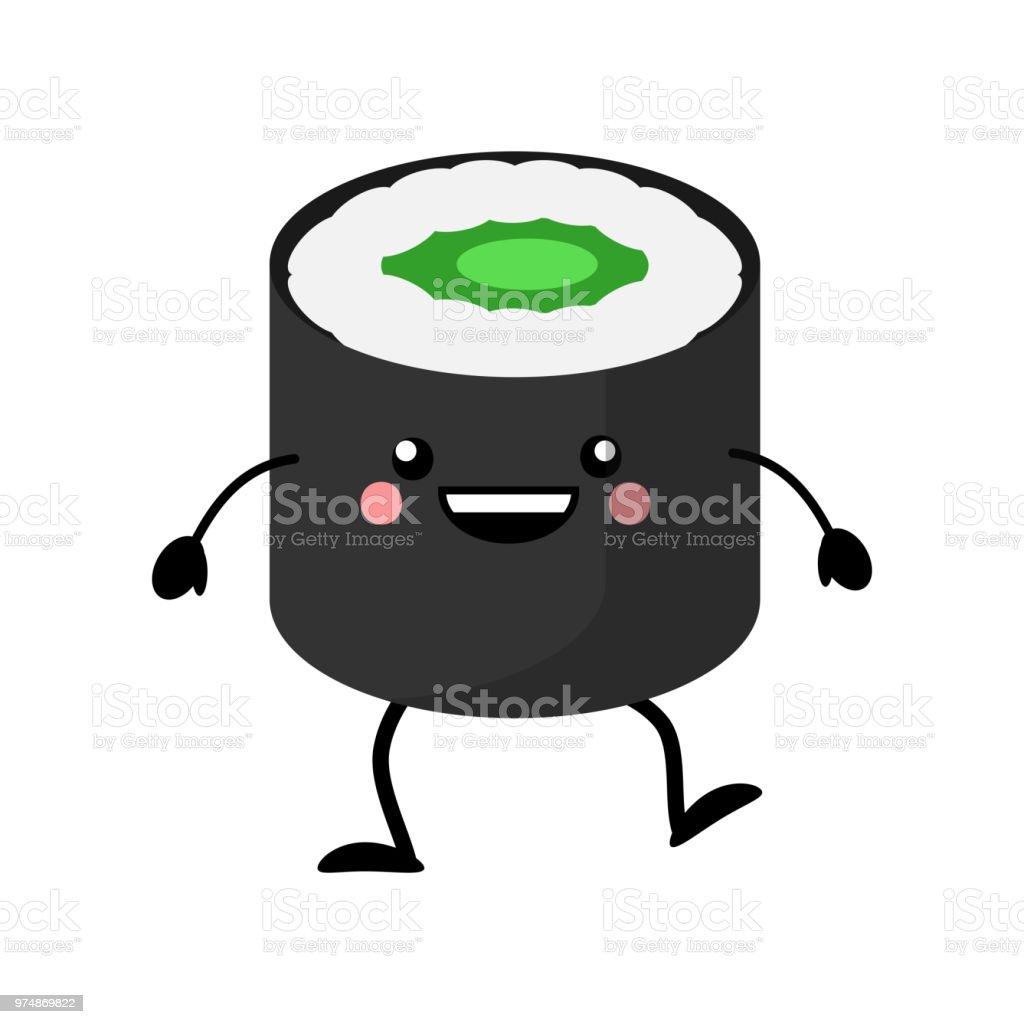 Ilustración De Personaje De Dibujos Animados Lindo Sushi Sushi De