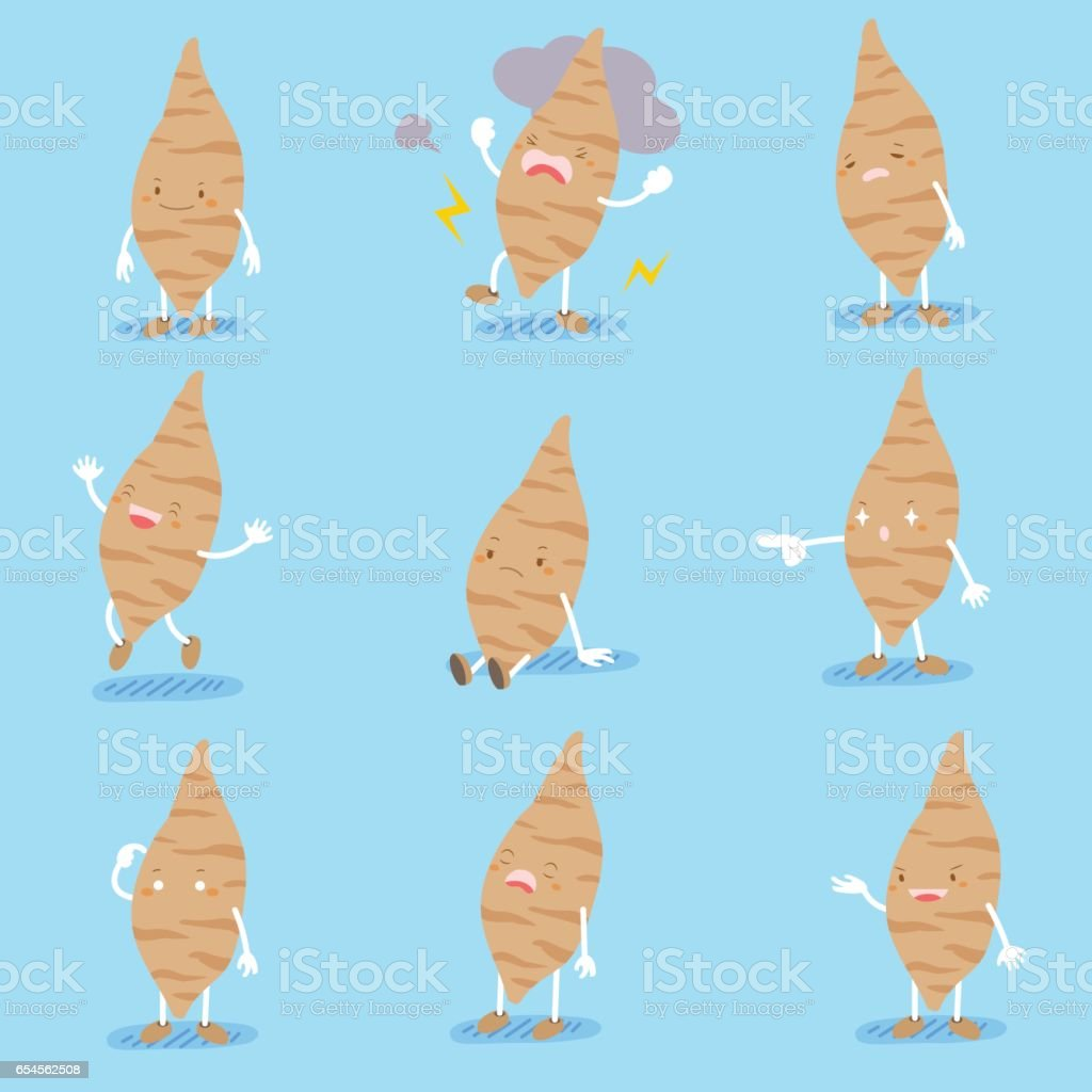 cute cartoon sweet potato vector art illustration