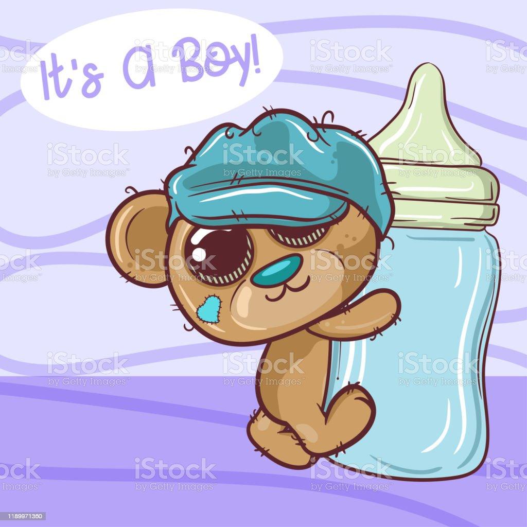 Cute Cartoon Teddy Bear Boy With Feeding Bottle Vector Stock Illustration Download Image Now Istock