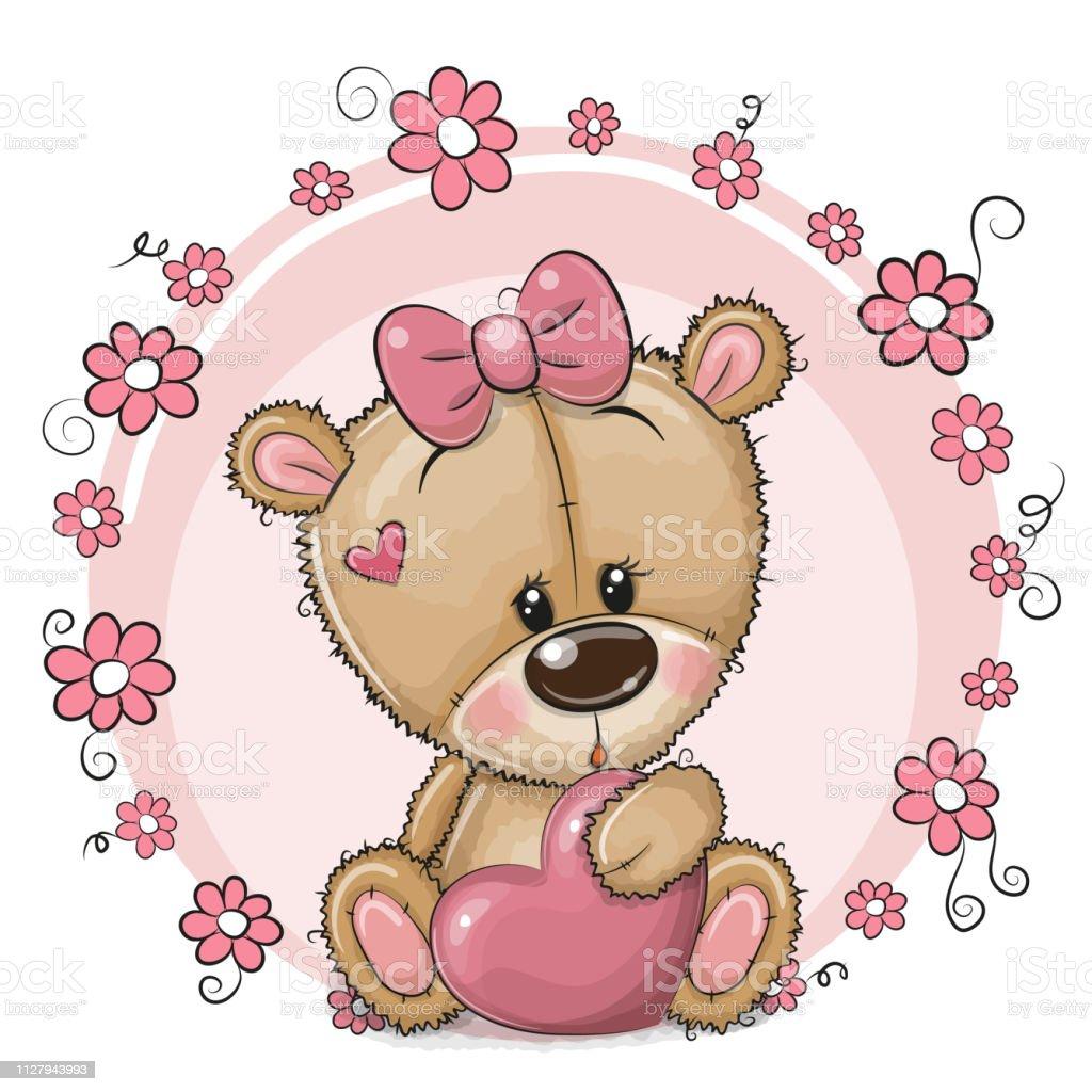 Niedliche Cartoonteddybärmädchen Mit Herzen Und Blumen Stock Vektor Art und  mehr Bilder von Auge - iStock