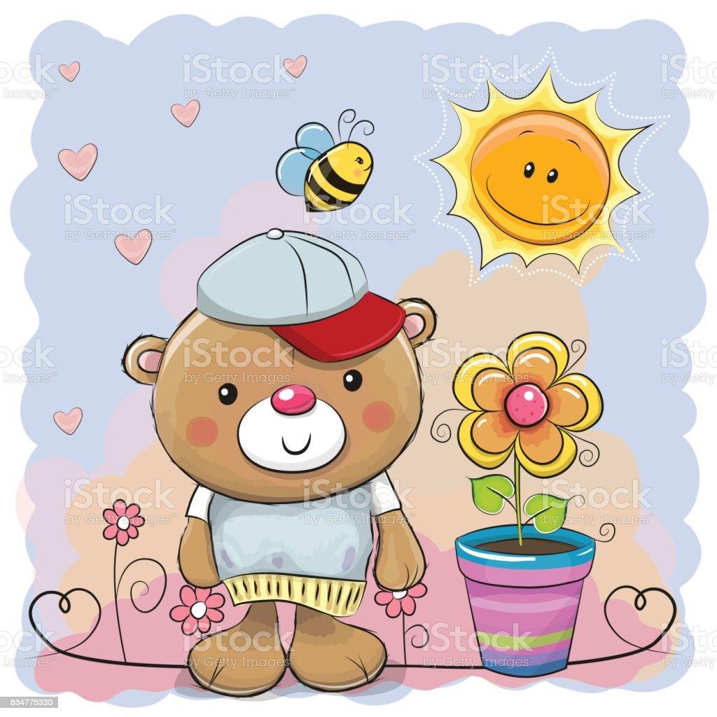 Niedlichen Cartoon Teddy Bär mit Blume – Vektorgrafik