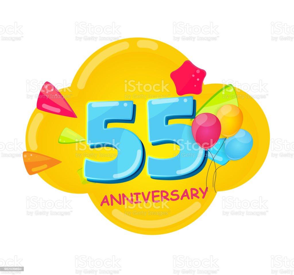 Cute Cartoon Sjabloon 55 Jaar Verjaardag Vectorillustratie