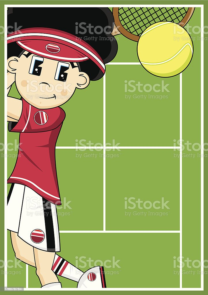 Cute Cartoon Tennis Boy royalty-free cute cartoon tennis boy stock vector art & more images of backhand stroke