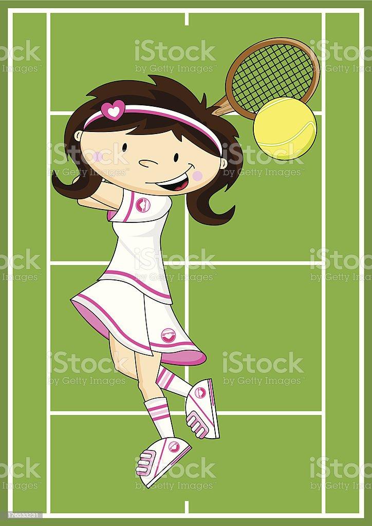 Cute Cartoon Tennis Girl royalty-free stock vector art