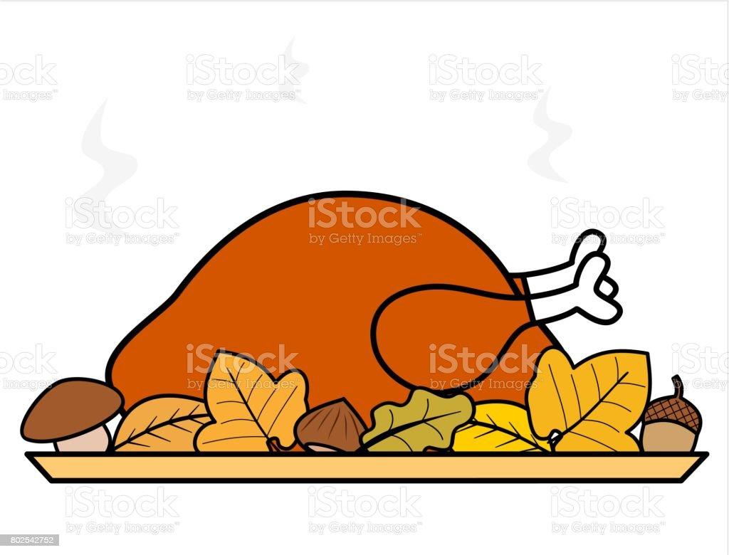 cute cartoon thanksgiving day roasted turkey vector illustration
