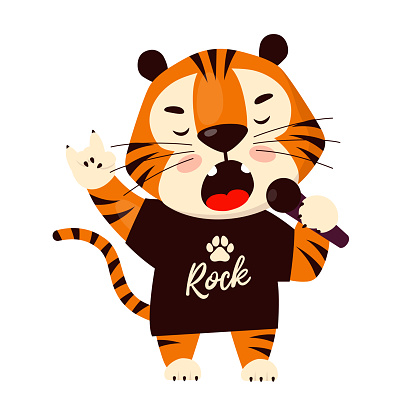 Cute cartoon tiger in black t-shirt singing and rocking. Symbol of 2022, year of the tiger. Vector illustration isolated on white background