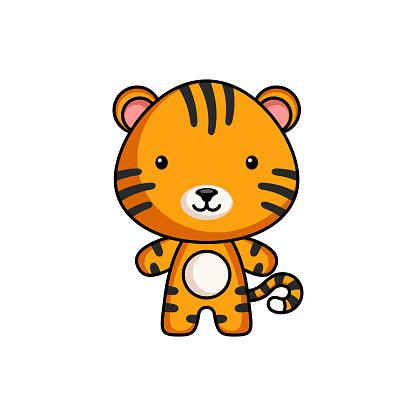 Cute cartoon tiger logo template on white background. Mascot animal character design of album, scrapbook, greeting card, invitation, flyer, sticker, card. Vector stock illustration.