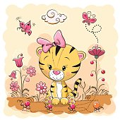 Cute Cartoon Tiger on a meadow