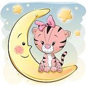 Cute Cartoon Tiger girl on the moon
