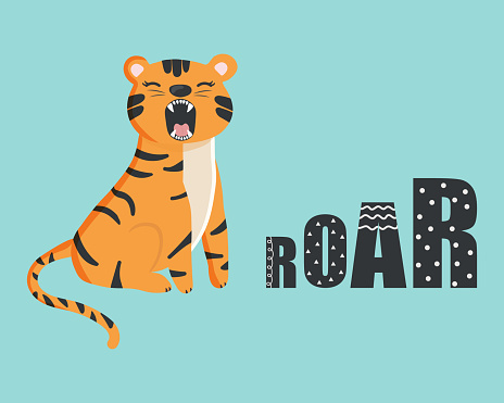 Cute cartoon tiger with open mouth roaring. Illustration for prints, kids cards, poster, t-shirts. Vector illustration. Greeting card.