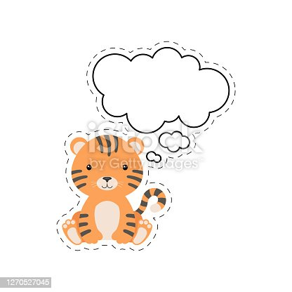 istock Cute cartoon tiger with speech bubble sticker. Kawaii character on white background. Cartoon sitting animal postcard clipart for birthday, baby shower, party event. Vector stock illustration. 1270527045