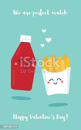 Flat vector illustration of cute cartoon tomato sause bottle and french fries couple with funny faces on blue background. Valentine's day greeting card template.