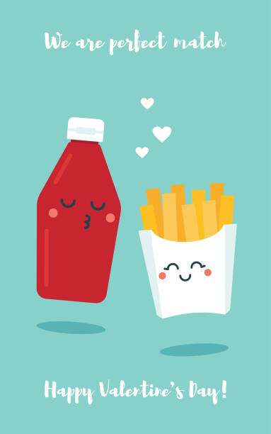 Cute cartoon tomato sause and fries couple Valentine's day greeting card Flat vector illustration of cute cartoon tomato sause bottle and french fries couple with funny faces on blue background. Valentine's day greeting card template. french fries stock illustrations