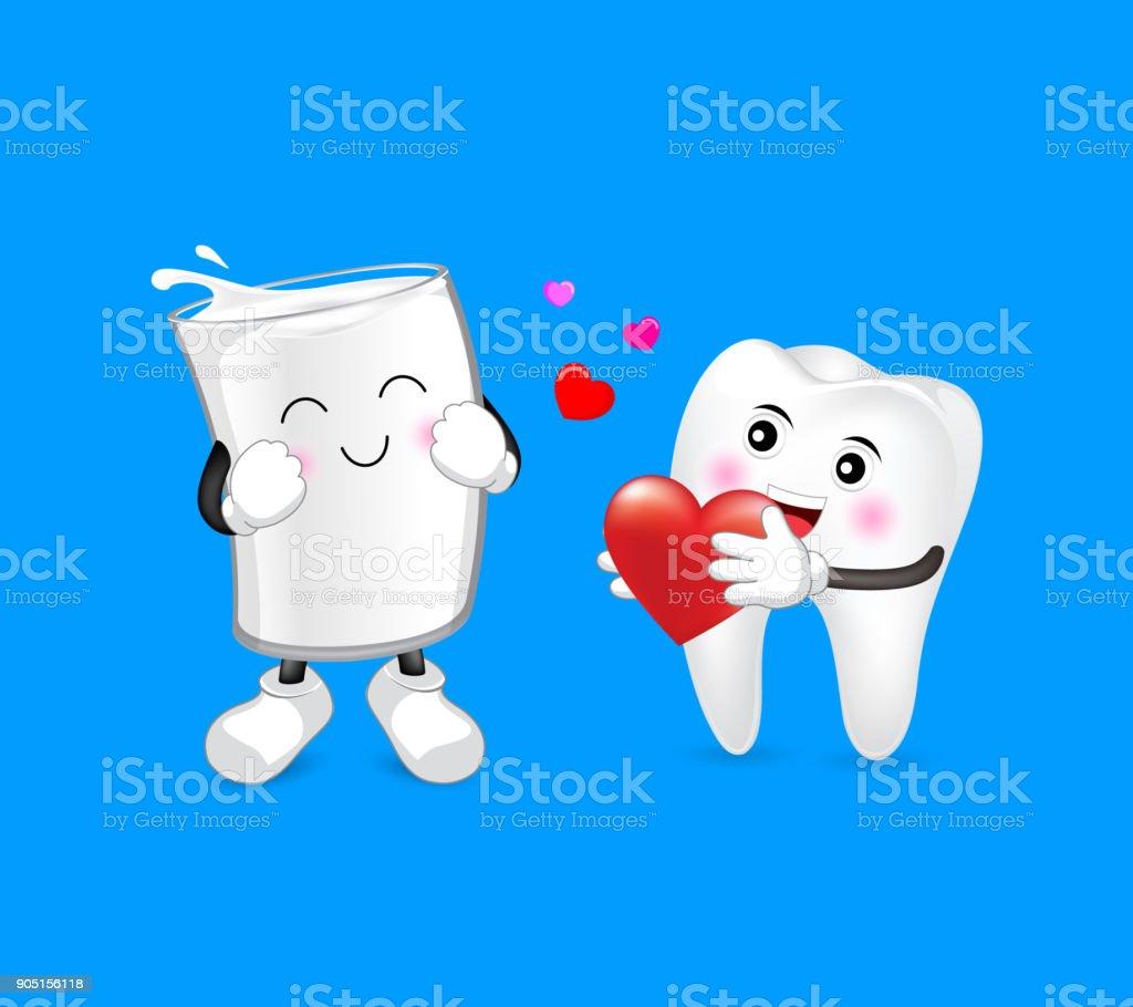 83a917753 Dente bonito dos desenhos animados e um copo de leite no amor. vetor de  dente