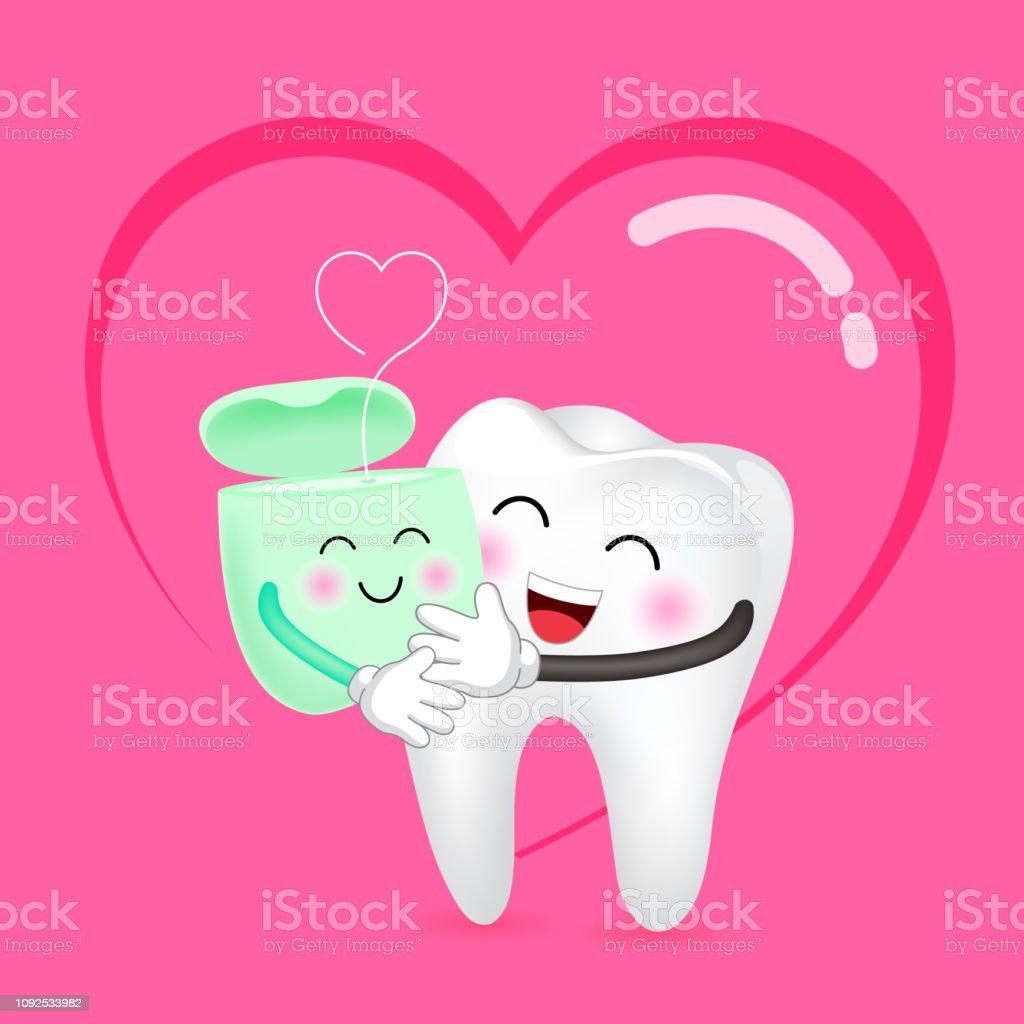 410100576 Bonito dos desenhos animados dente e fio dental no amor. vetor de bonito  dos desenhos