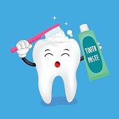 cute cartoon tooth character brushing