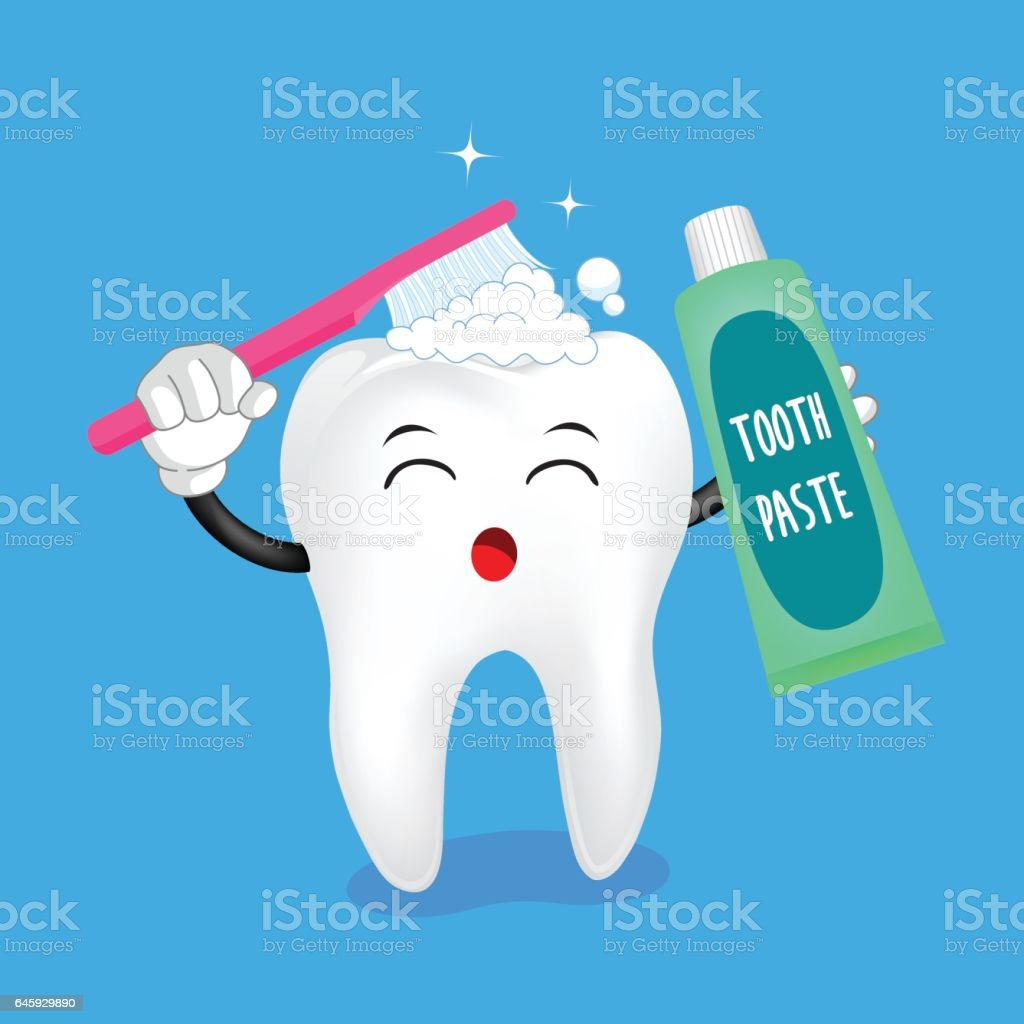 cute cartoon tooth character brushing vector art illustration