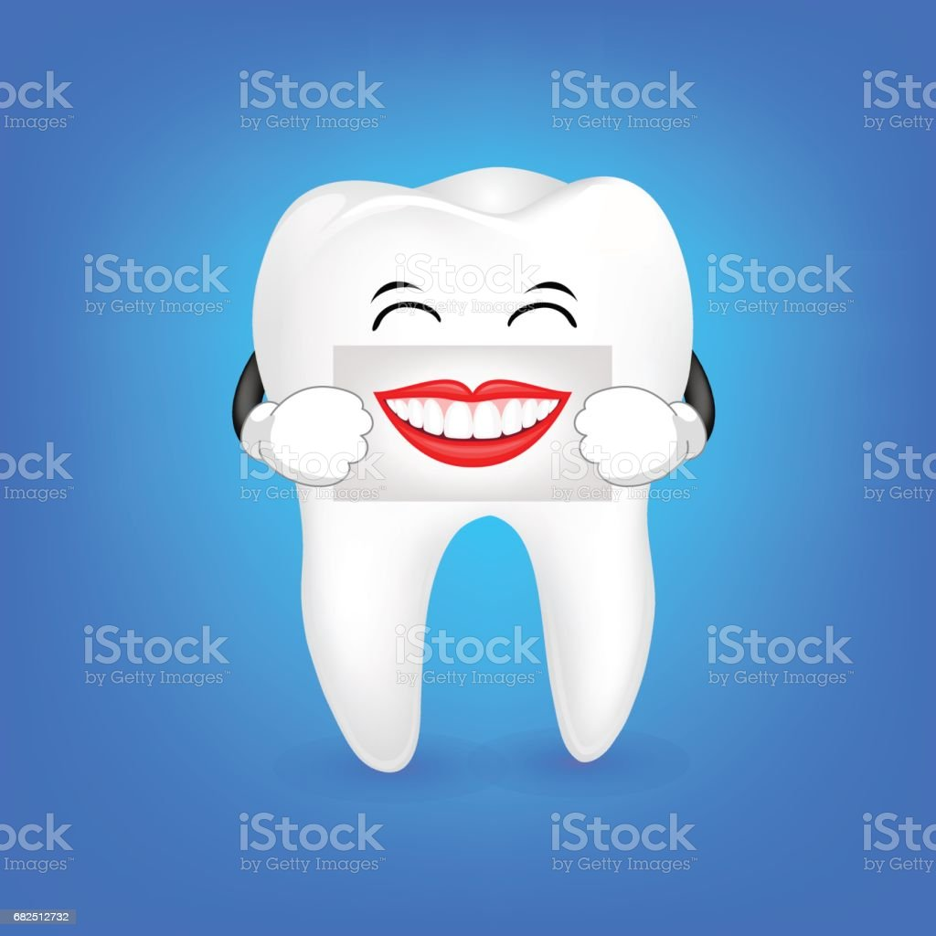 Cute cartoon tooth character holding the human mouth on the sheet of paper over the mouth. royalty-free cute cartoon tooth character holding the human mouth on the sheet of paper over the mouth stock vector art & more images of advertisement