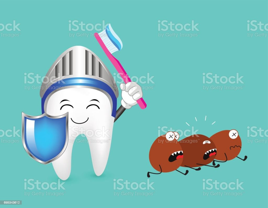 Cute cartoon tooth character with shield, head protection and toothbrush with toothpaste. vector art illustration