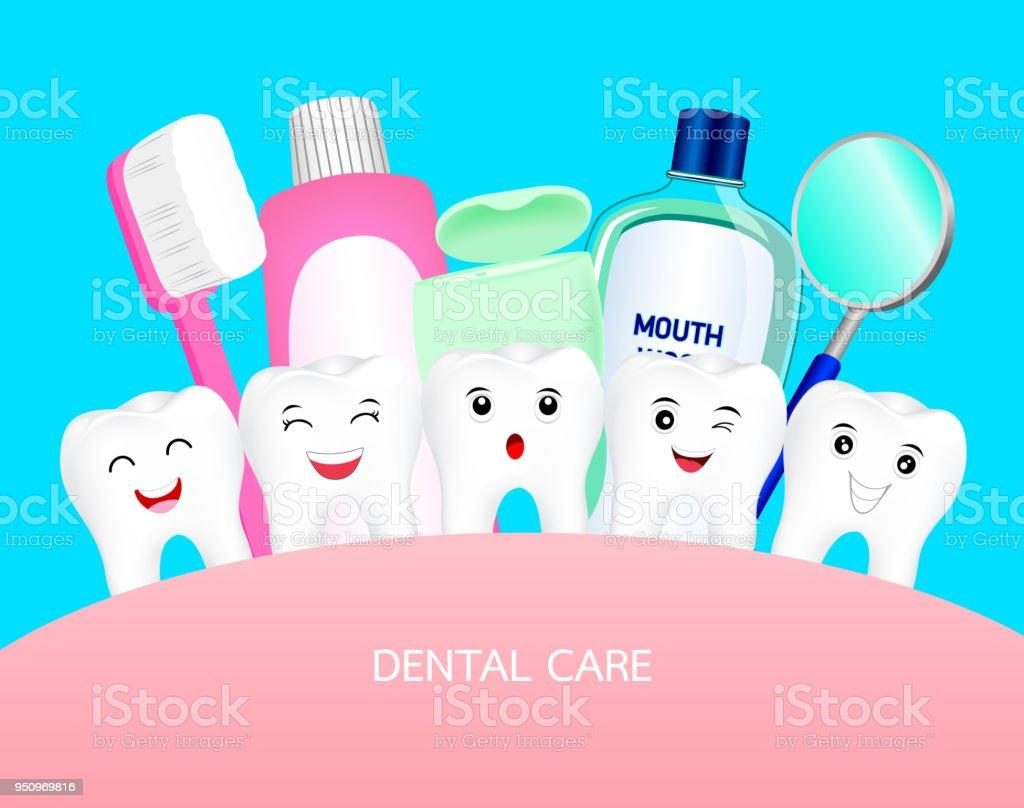 a75314440 Dente de bonito dos desenhos animados feliz com ferramenta dental. vetor de  dente de bonito