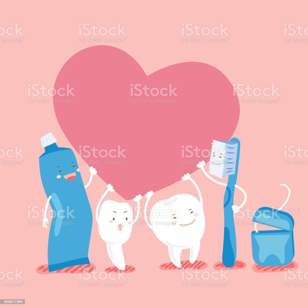 d8d4522d1 dente bonito dos desenhos animados segurar o coração vetor de dente bonito  dos desenhos animados segurar