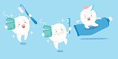 cute cartoon tooth play with floos and toothpaste