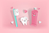 cute cartoon tooth with love concept on the pink background