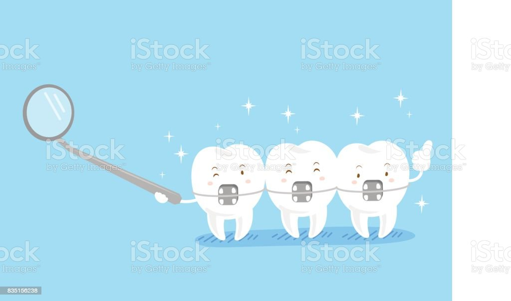 cute cartoon tooth wear brace vector art illustration