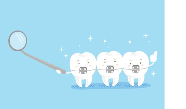 cute cartoon tooth wear brace - orthodontist stock illustrations, clip art, cartoons, & icons