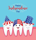 Cute cartoon tooth with American hat.