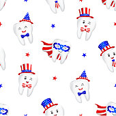 Cute cartoon tooth with American suit seamless pattern.